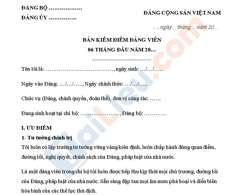mẫu bản kiểm điểm đảng viên 6 tháng đầu năm