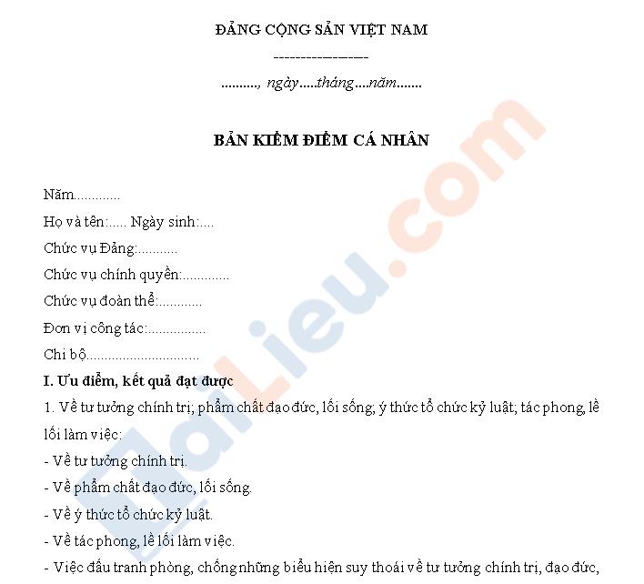 Bản kiểm điểm dành cho đảng viên cuối năm