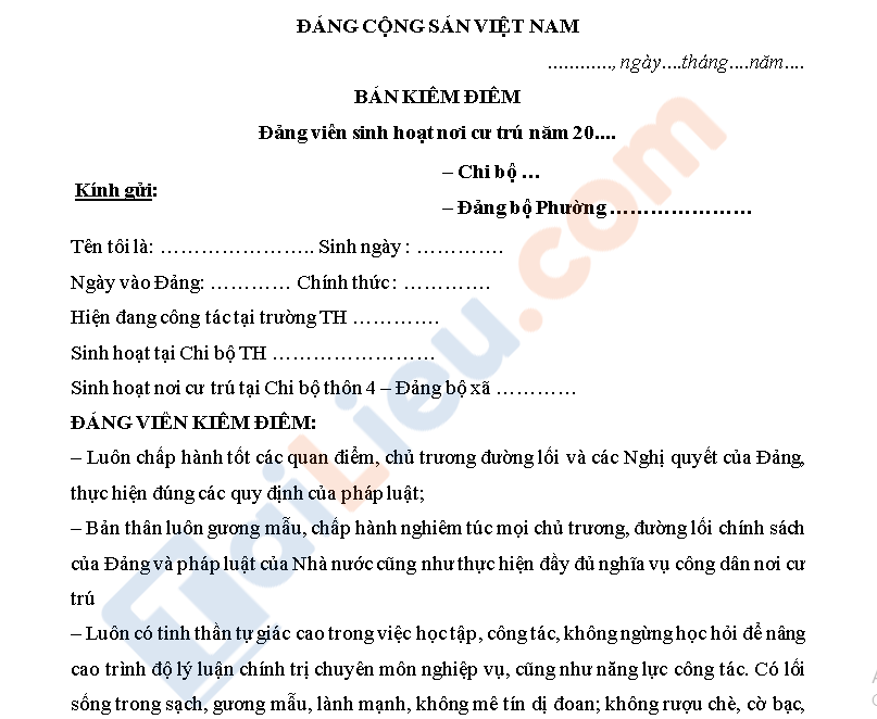 mẫu bản kiểm điểm đảng viên sinh hoạt nơi cư trú