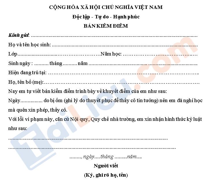 Mẫu bản kiểm điểm cho học sinh thpt