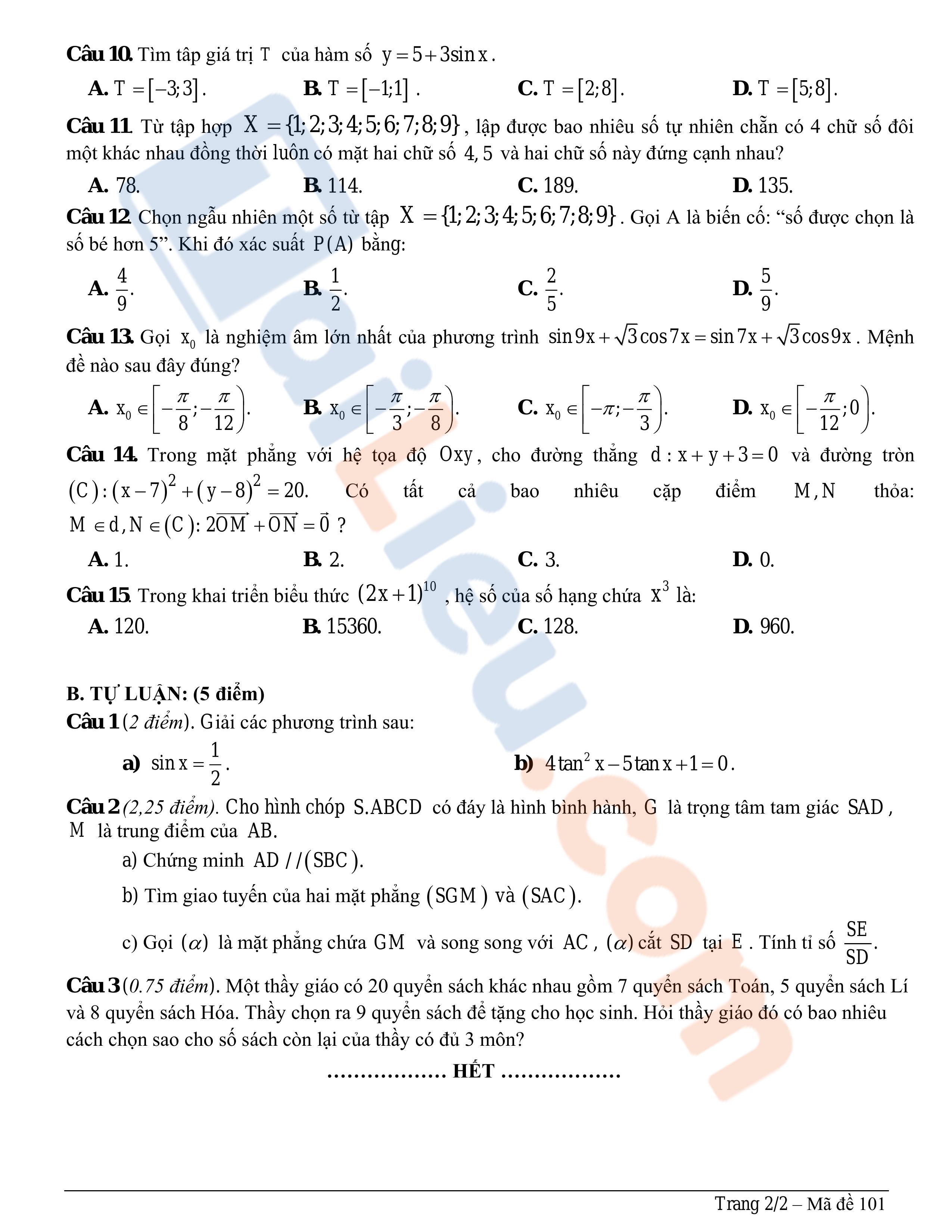 Đề thi giữa học kì 1 môn Toán Quảng Nam 2019