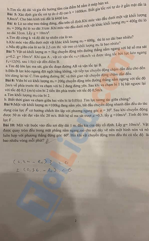 Đề cương ôn tập học kì 1 môn Vật lý 10 THPT Tạ Quang Bửu 2020-2