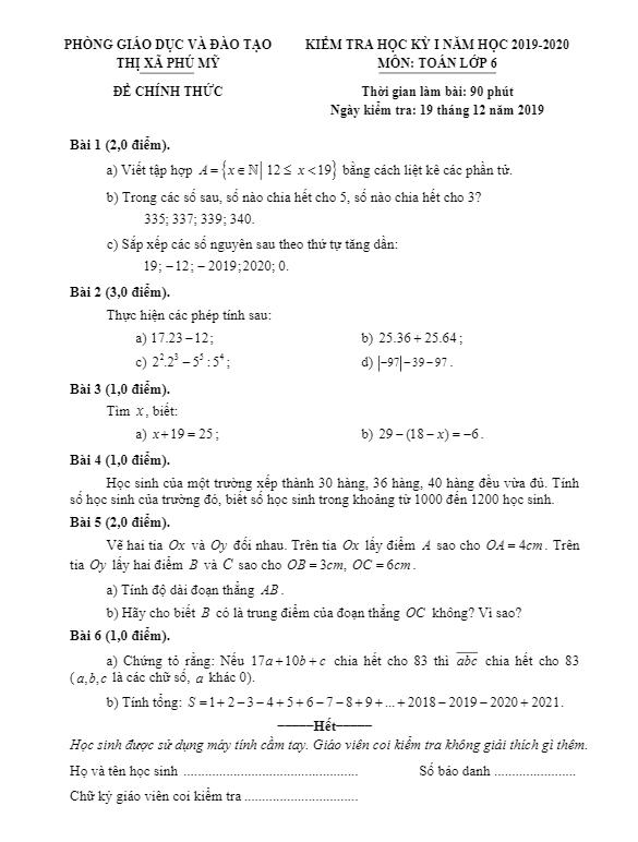 Đáp án đề thi cuối học kì 1 Toán Lớp 6 phòng GD&ĐT Phú mỹ