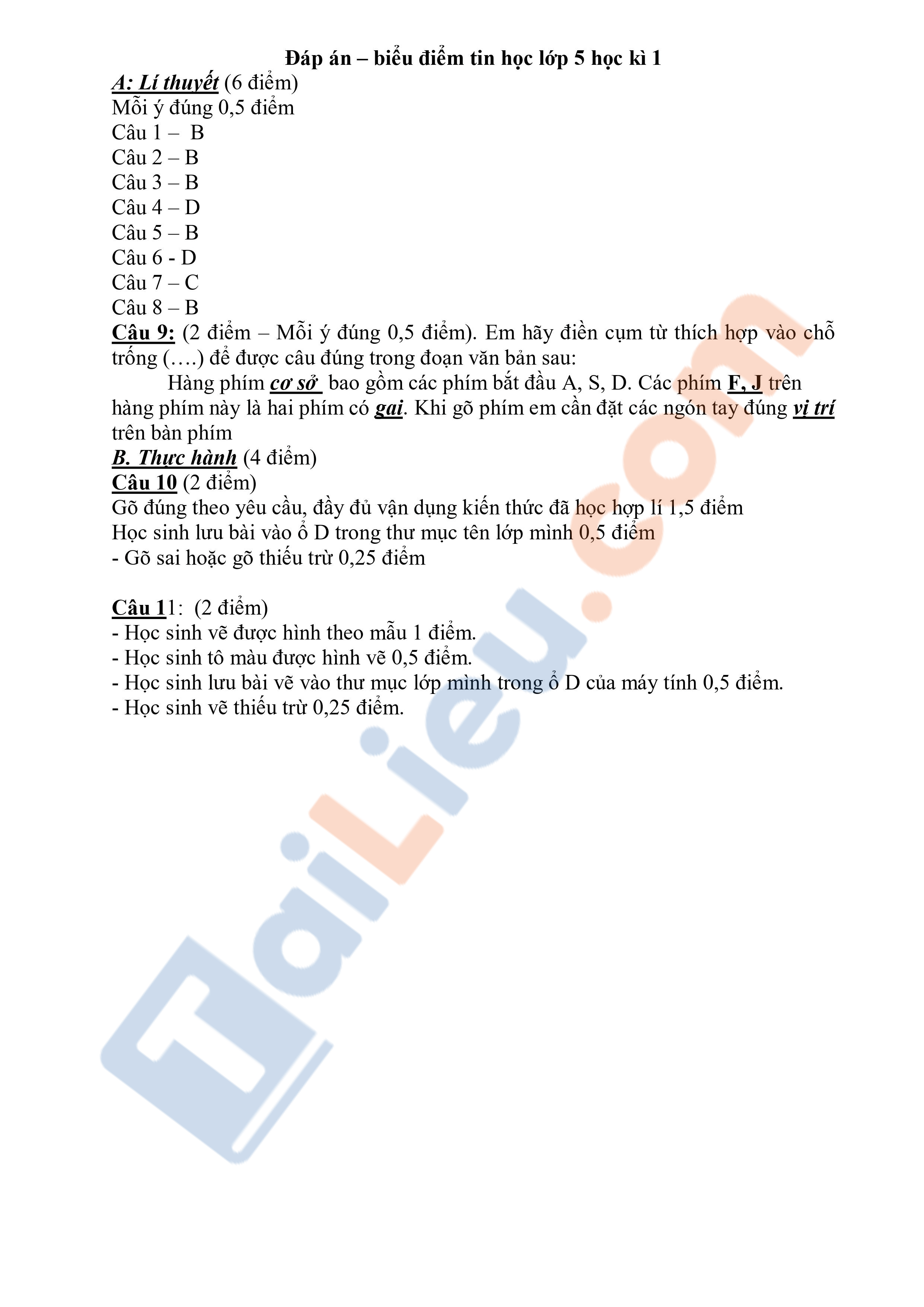 Đề thi Tin học Lớp 5 cuối kì 1 Tiểu học Xuân Phương 2017 (Có đáp án)