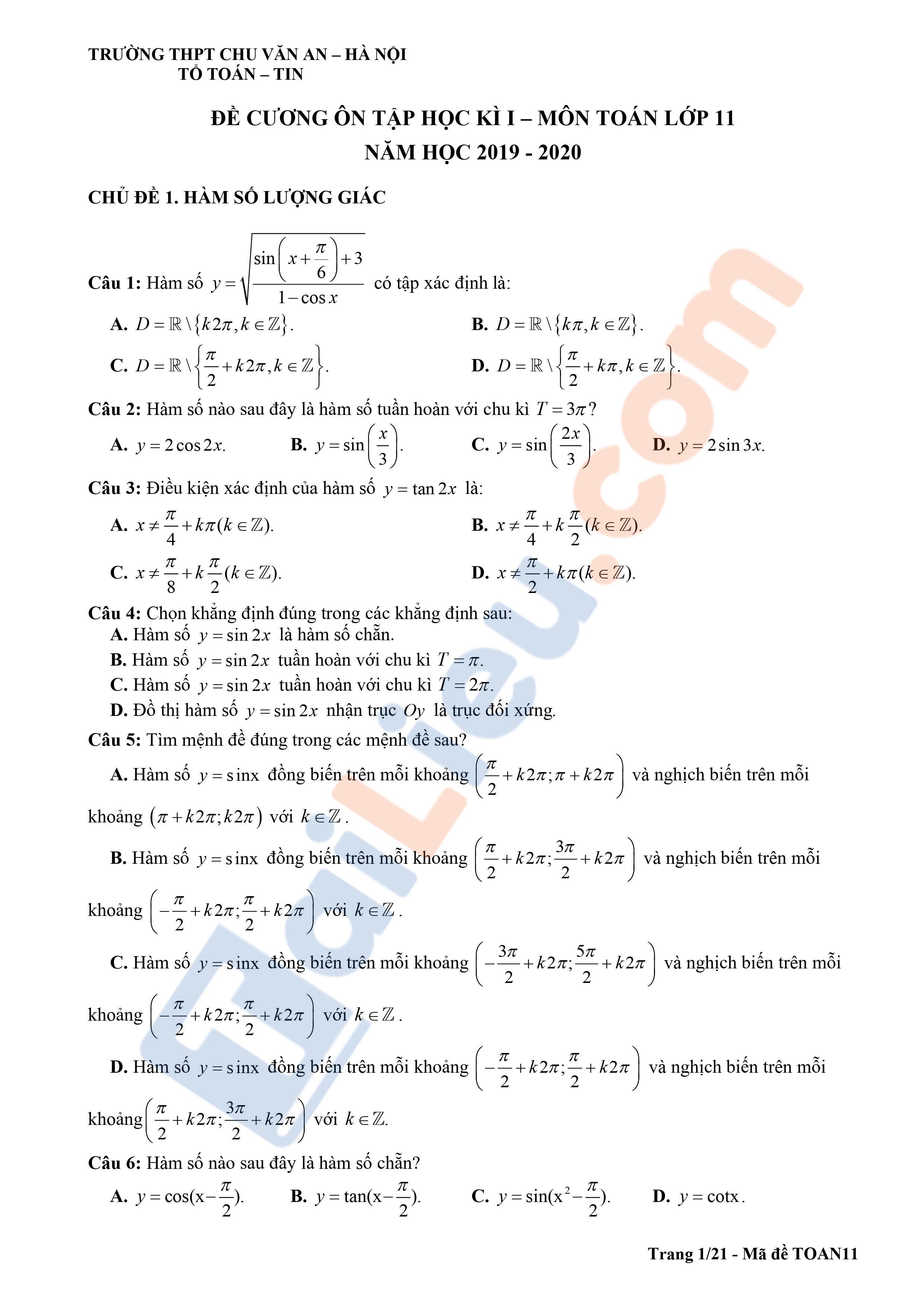 Đề cương ôn tập toán 11 THPT Chu Văn An