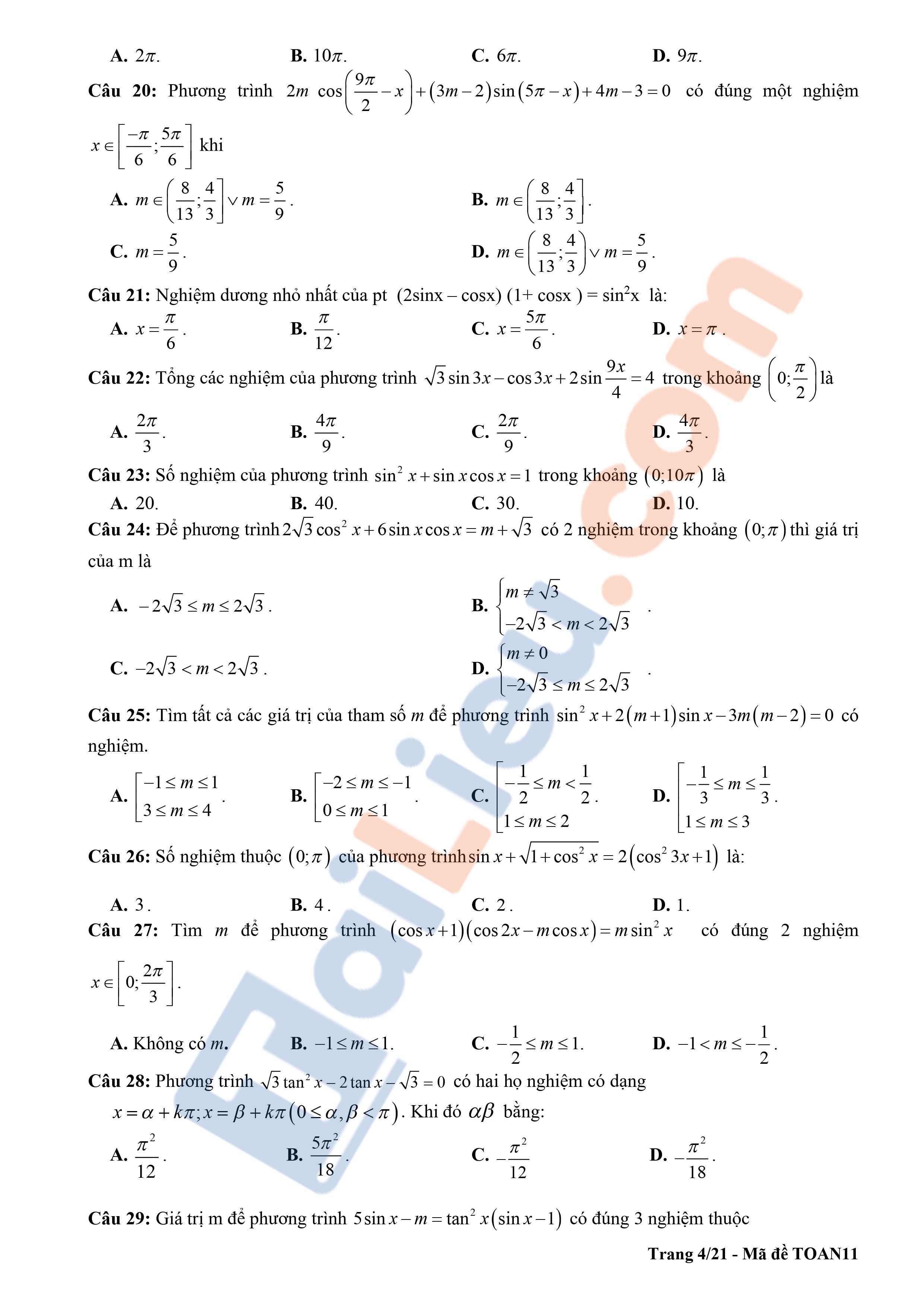 Đề cương ôn tập học kì 1 toán 11 THPT Chu Văn An