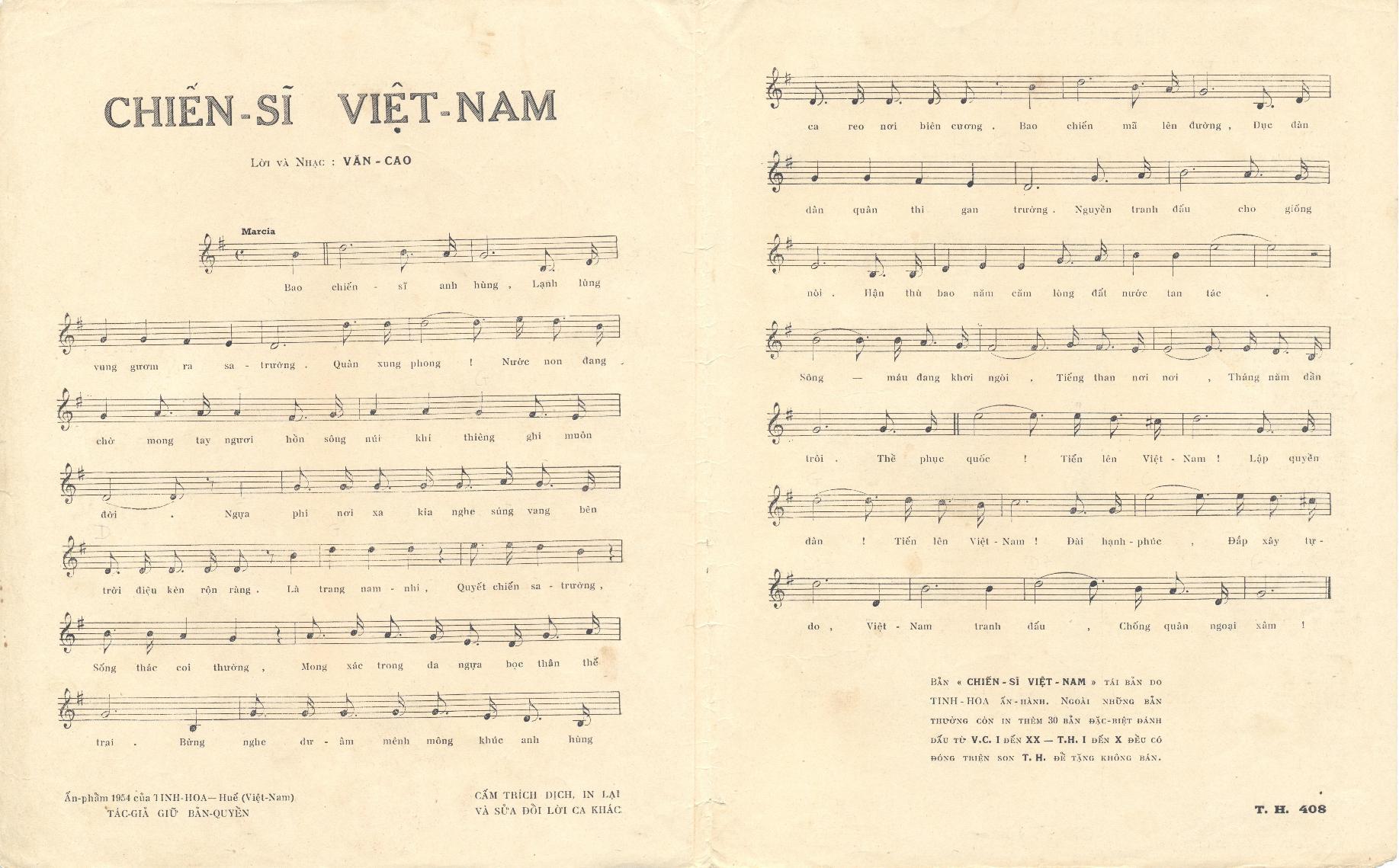 Lời bài chiến sĩ Việt Nam - Văn Cao