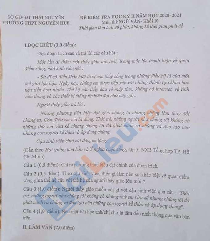 Đề thi HK 2 Ngữ Văn 10 THPT Nguyễn Huệ 2020