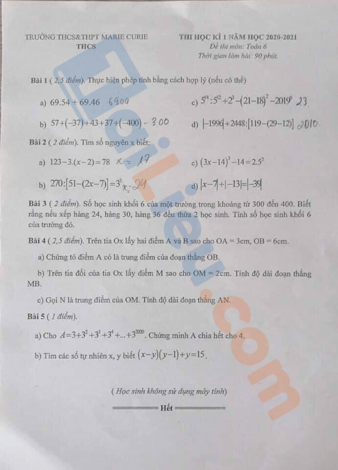 Đề thi học kì 1 toán 6 THCS Marie Curie - Hà Nội
