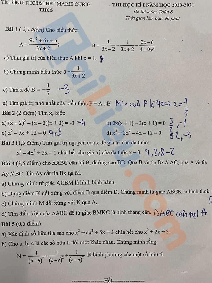 Đề thi học kì 1 toán 8THCS Marie Curie - Hà Nội 2020