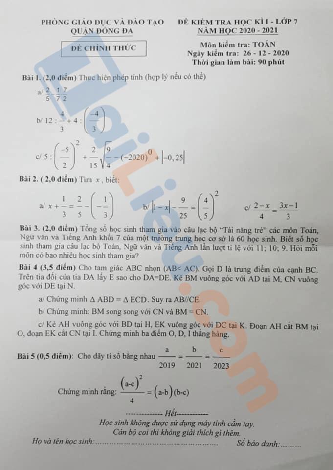 Đề thi học kì 1 Toán 7 Phòng GD&ĐT Quận Đống Đa - Hà Nội 2020