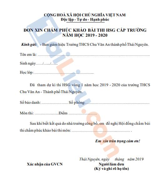 Mẫu đơn xin phúc khảo bài thi hoc sinh giỏi 2021 chuẩn nhất