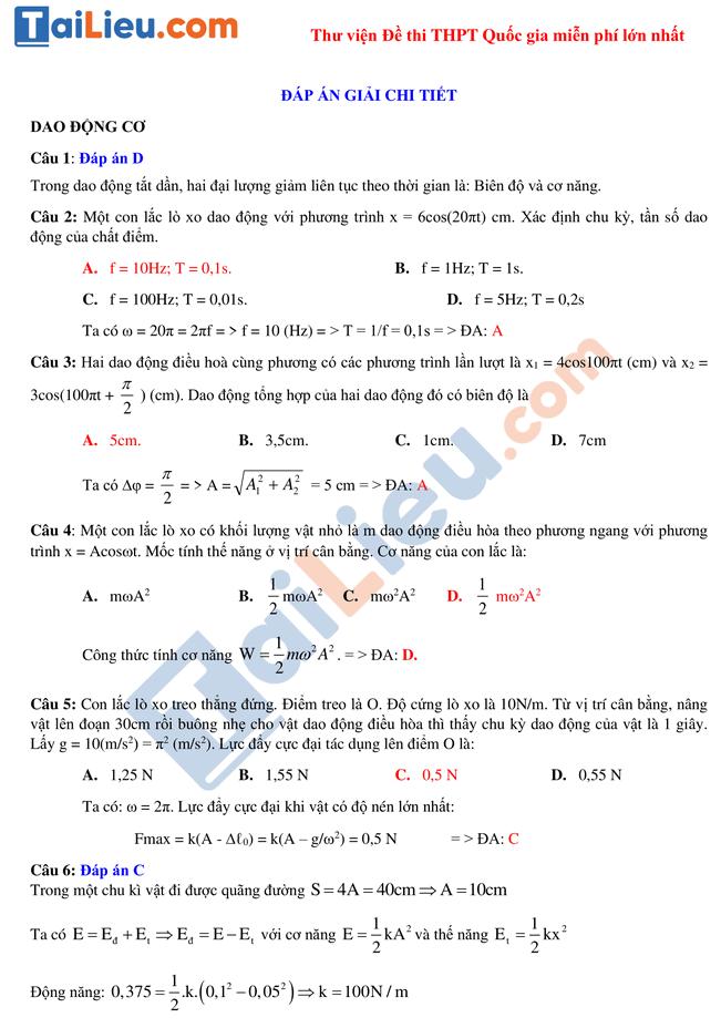 Hướng dẫn giải chi tiết đề thi thử thpt quốc gia môn lý số 2_1