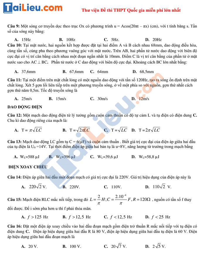 Đề thi thử THPT quốc gia 2020-2021 môn Lý có đáp án số 2_2