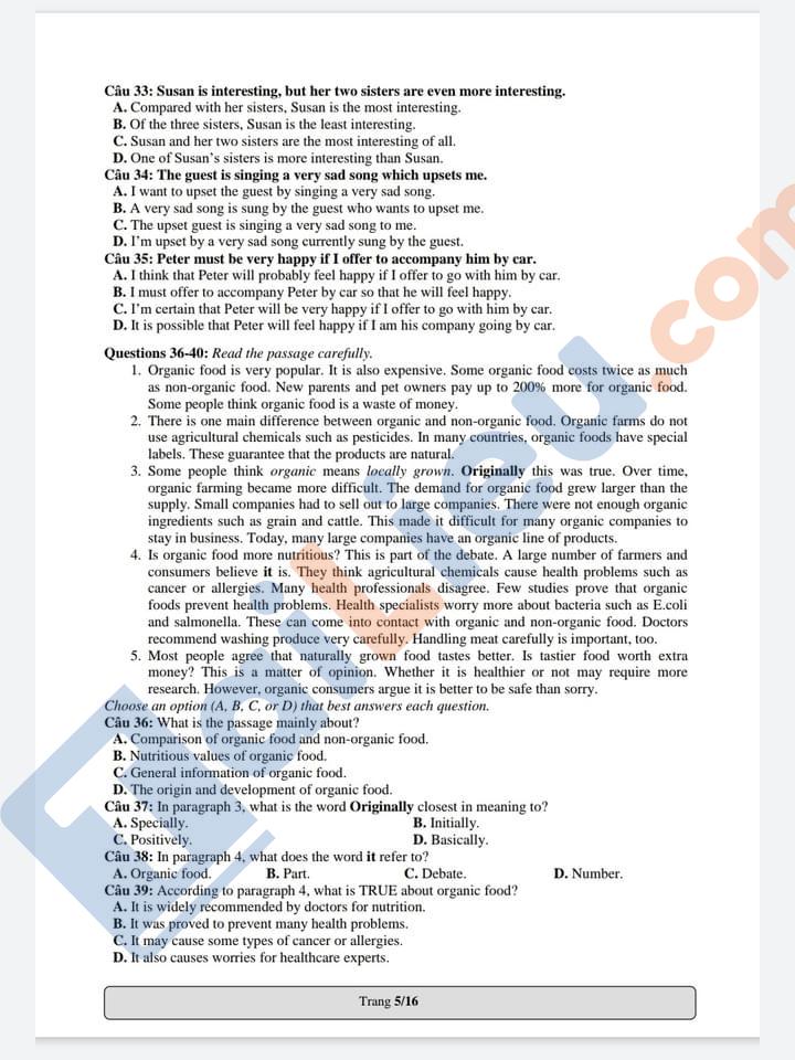 Đề thi mẫu đánh giá năng lực ĐH Quốc Gia TP. Hồ Chí Minh 2021