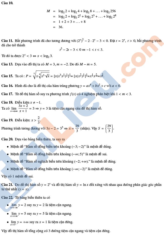 Đáp án Đề thi thử thpt quốc gia 2020 môn toán THPT Lương Thế Vinh Hà Nội