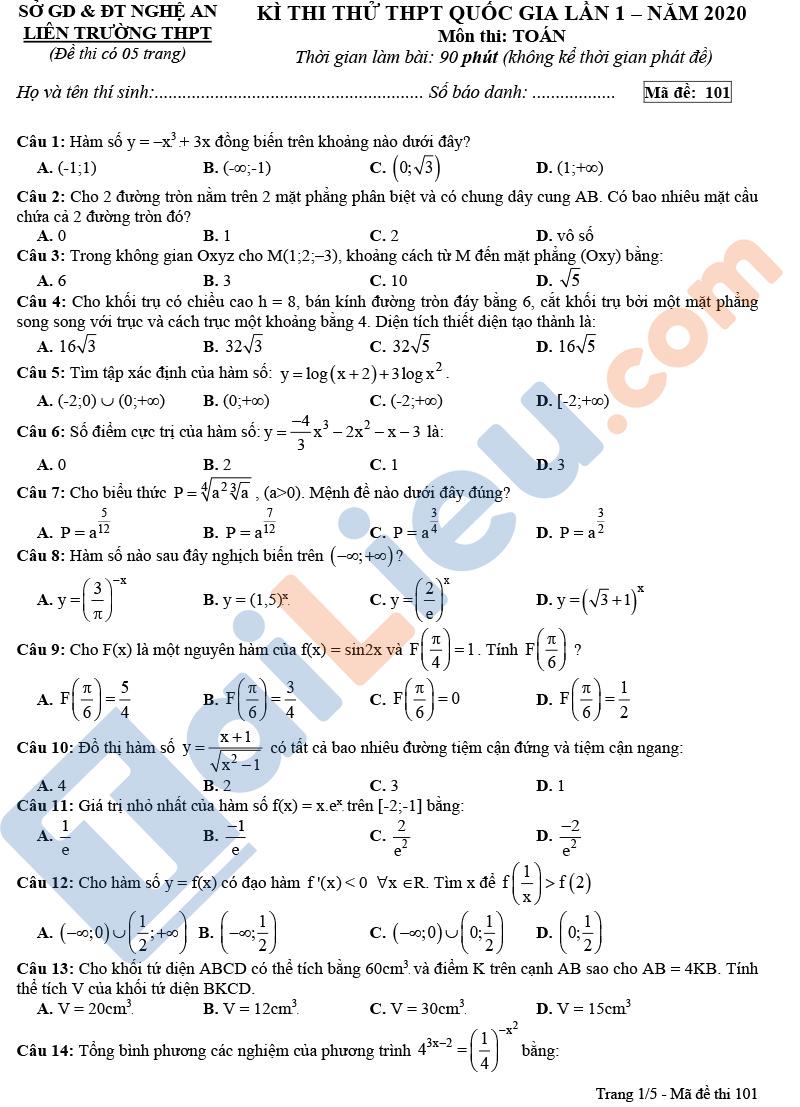 Đề thi thử THPT Quốc Gia 2020 môn Toán Sở GD&ĐT Tỉnh Nghệ An (có đáp án)