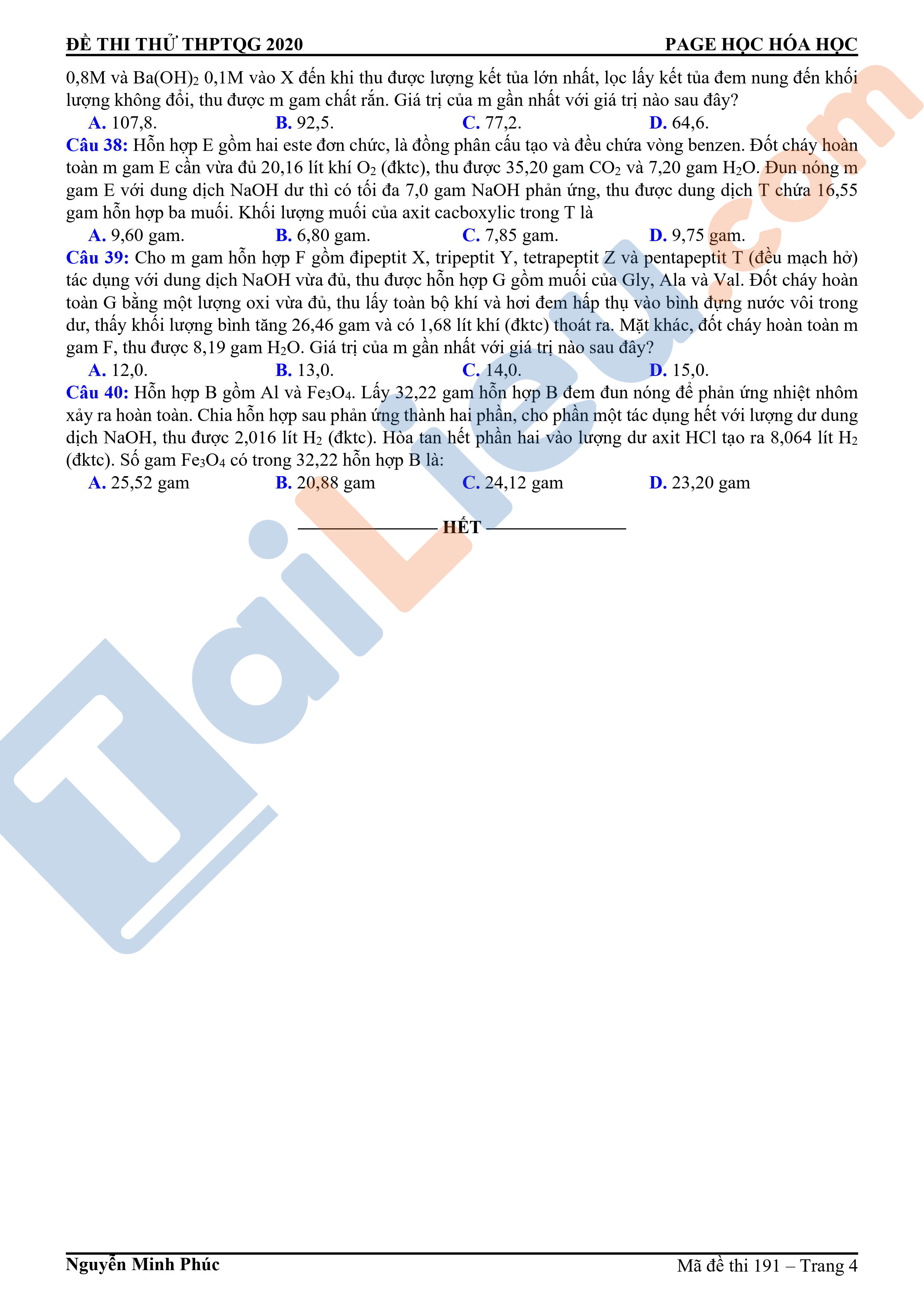 Đề thi thử THPT Quốc Gia 2020 môn Hóa THPT Chuyên KHTN Hà Nội lần 2 (có đáp án)