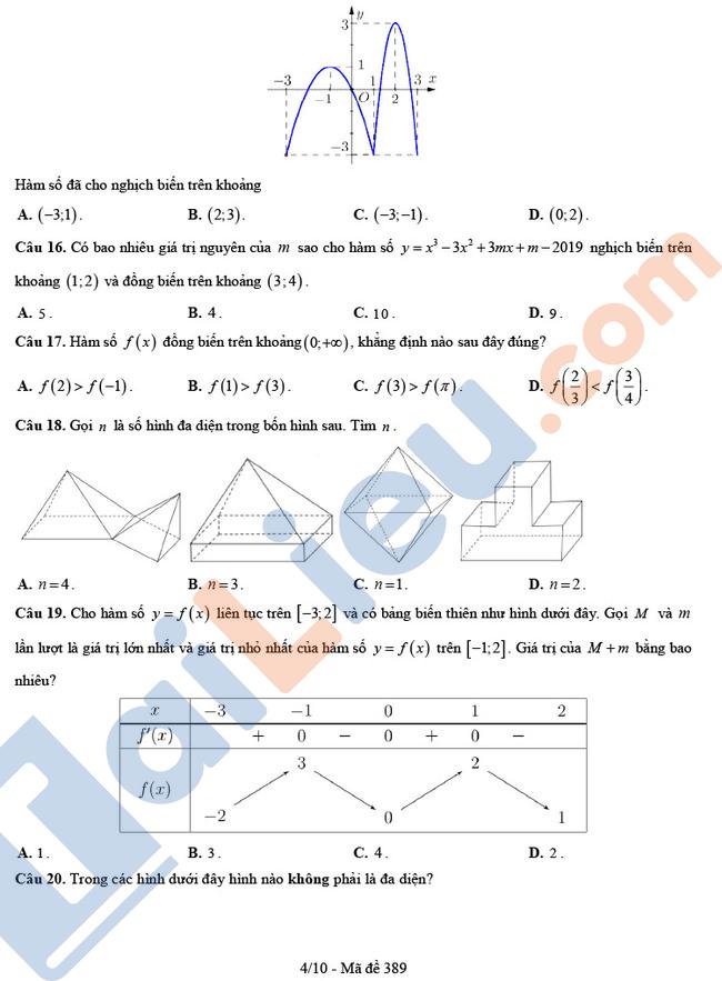 Đề thi thử THPT Quốc Gia 2020 môn Toán THPT Hậu Lộc 4 - Thanh Hóa