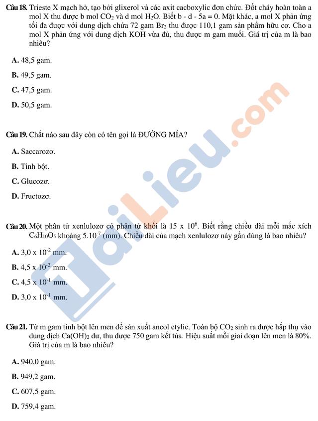Bài thi mẫu ĐGNL 2019 Môn Hóa trường Đại học quốc tế HCM_2