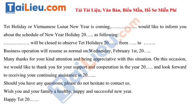 Mẫu thông báo nghỉ tết âm lịch 2021 bằng tiếng Anh