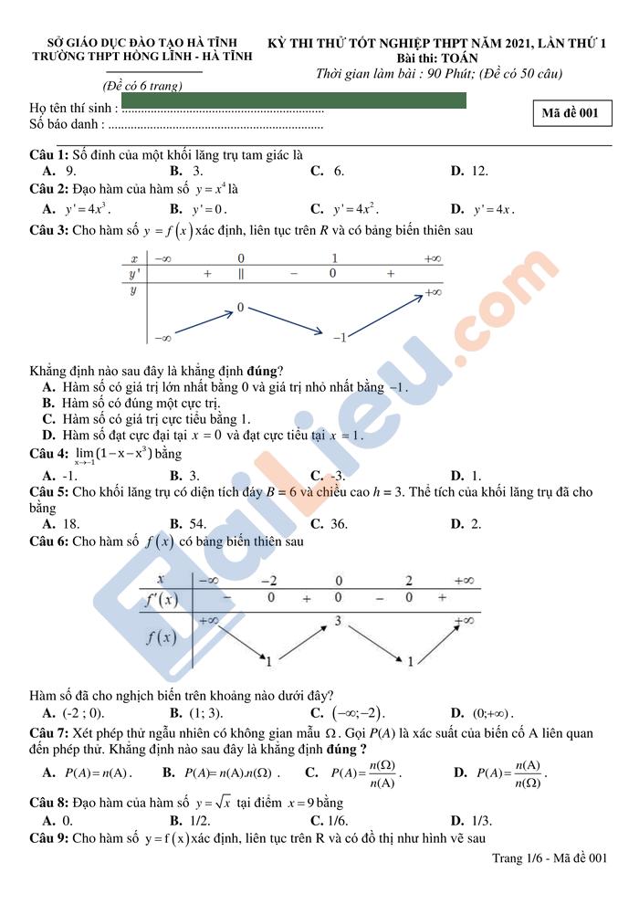 Đề thi thử THPTQG 2021 môn toán trường Hồng Lĩnh lần 1 có đáp án_1