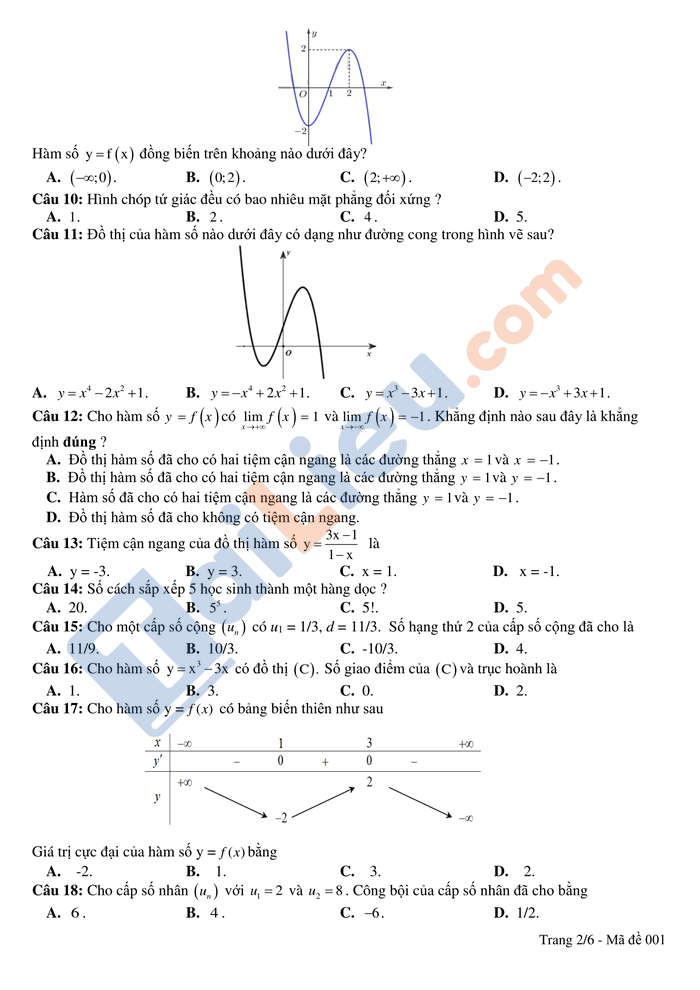 Đề thi thử THPTQG 2021 môn toán trường Hồng Lĩnh lần 1 có đáp án_2