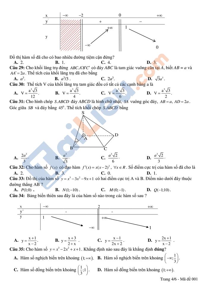 Đề thi thử THPTQG 2021 môn toán trường Hồng Lĩnh lần 1 có đáp án_4