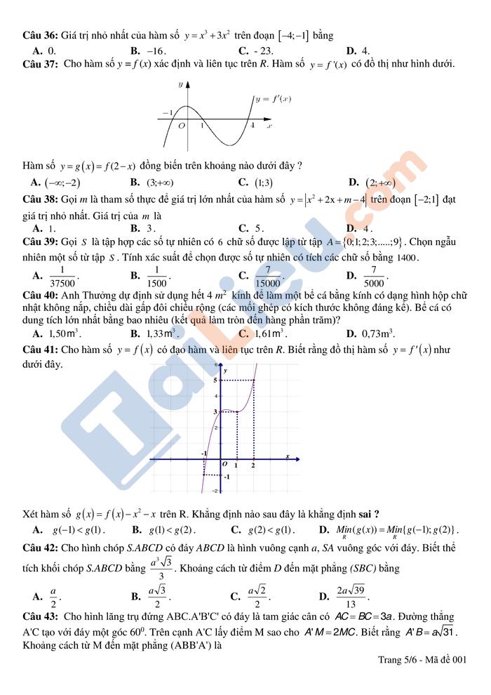 Đề thi thử THPTQG 2021 môn toán trường Hồng Lĩnh lần 1 có đáp án_5