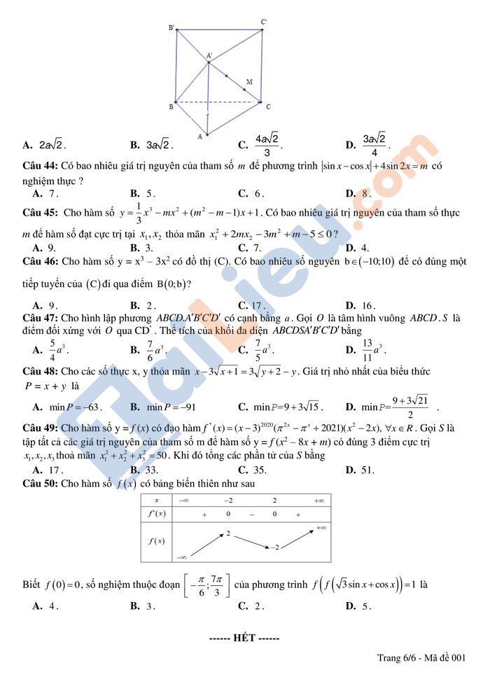 Đề thi thử THPTQG 2021 môn toán trường Hồng Lĩnh lần 1 có đáp án_6