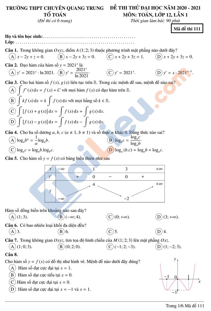 Đề thi thử thptqg môn toán 2021 trường chuyên Quang Trung Bình Phước lần 1 mã đề 111_1
