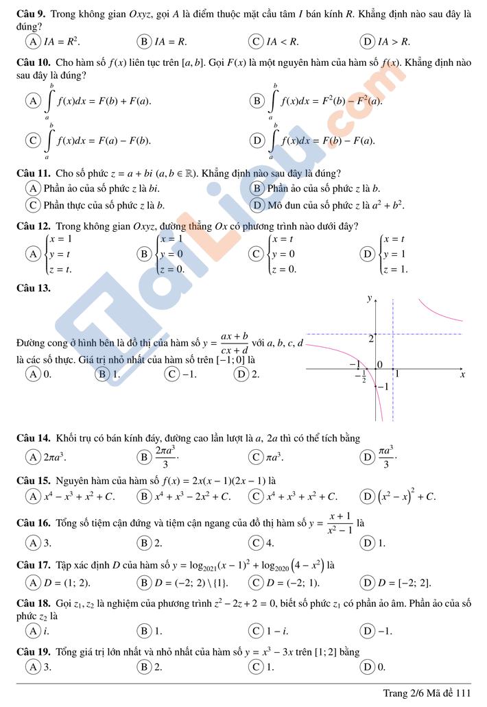 Đề thi thử thptqg môn toán 2021 trường chuyên Quang Trung Bình Phước lần 1 mã đề 111_2