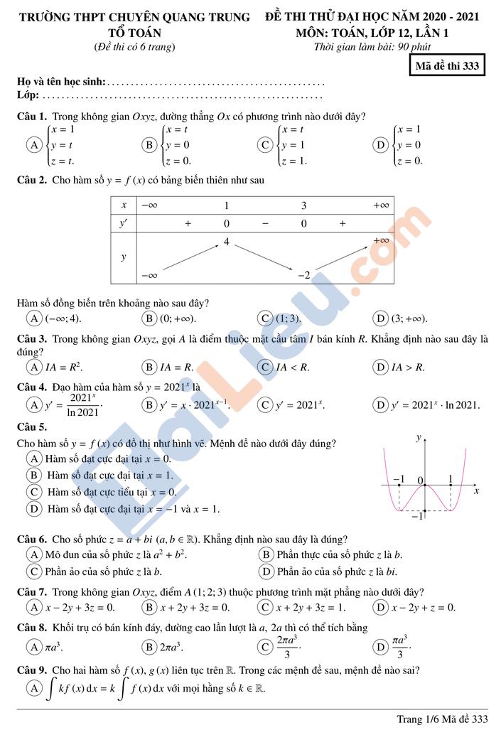 Đề thi thử thptqg toán 2021 trường chuyên Quang Trung Bình Phước lần 1 mã đề 333