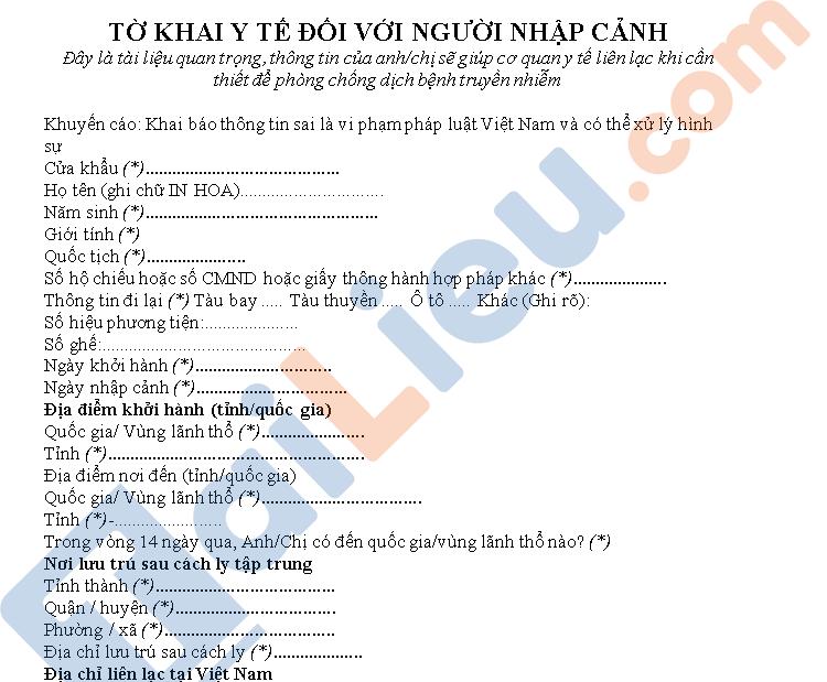 Tờ khai y tế dành cho người nhập cảnh