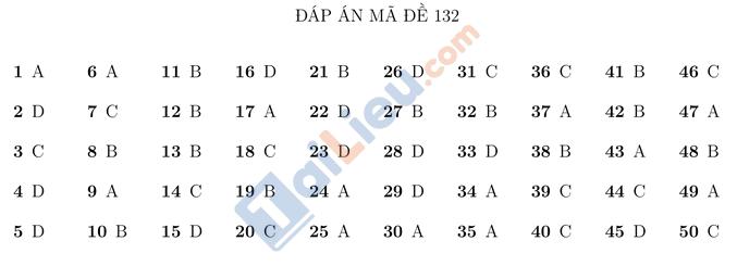 Đáp án đề thi thử THPTQG 2021 môn Toán Trường Nguyễn Thị Minh Khai HN mã đề 132