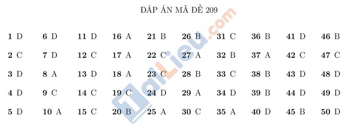 Đáp án đề thi thử THPTQG 2021 môn Toán Trường Nguyễn Thị Minh Khai HN mã đề 209