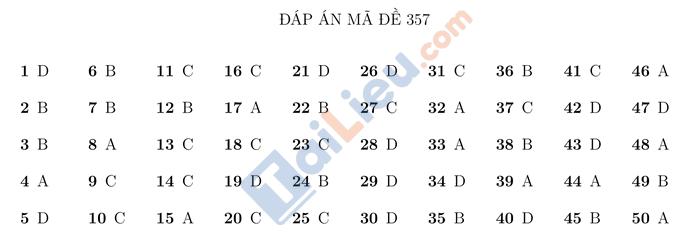 Đáp án đề thi thử THPTQG 2021 môn Toán Trường Nguyễn Thị Minh Khai HN mã đề 357