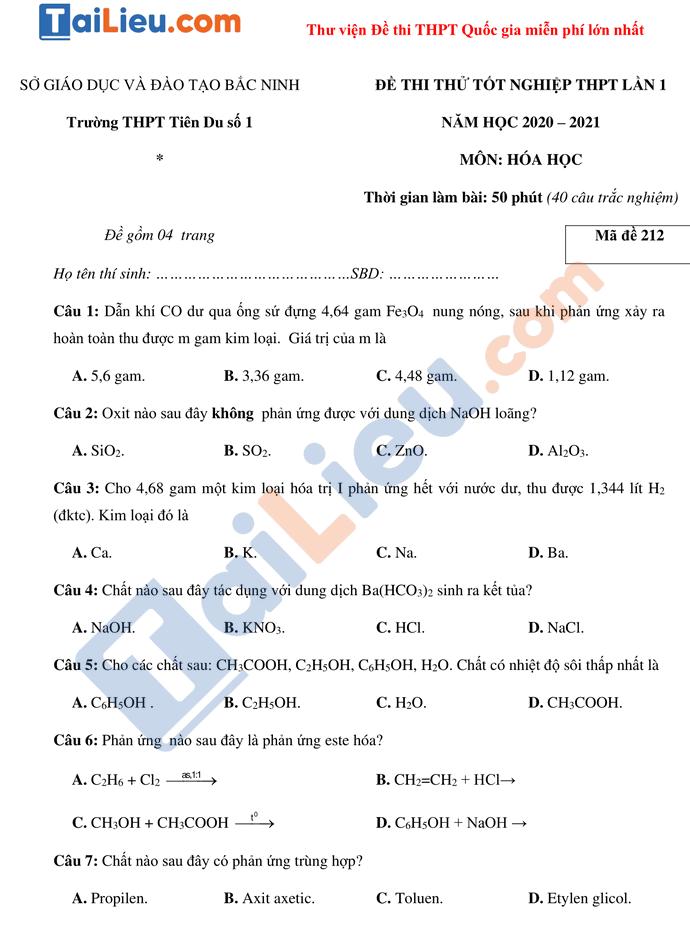 Đề thi thử TN THPTQG 2021 môn Hóa trường Tiên Du 1 Bắc Ninh lần 1 có đáp án_1