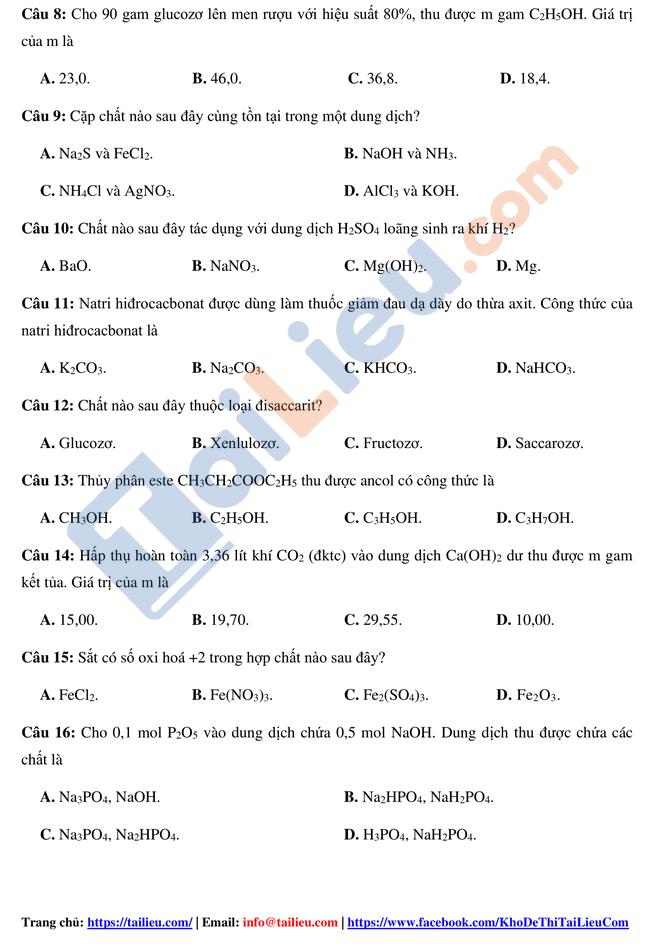 Đề thi thử TN THPTQG 2021 môn Hóa trường Tiên Du 1 Bắc Ninh lần 1 có đáp án_2
