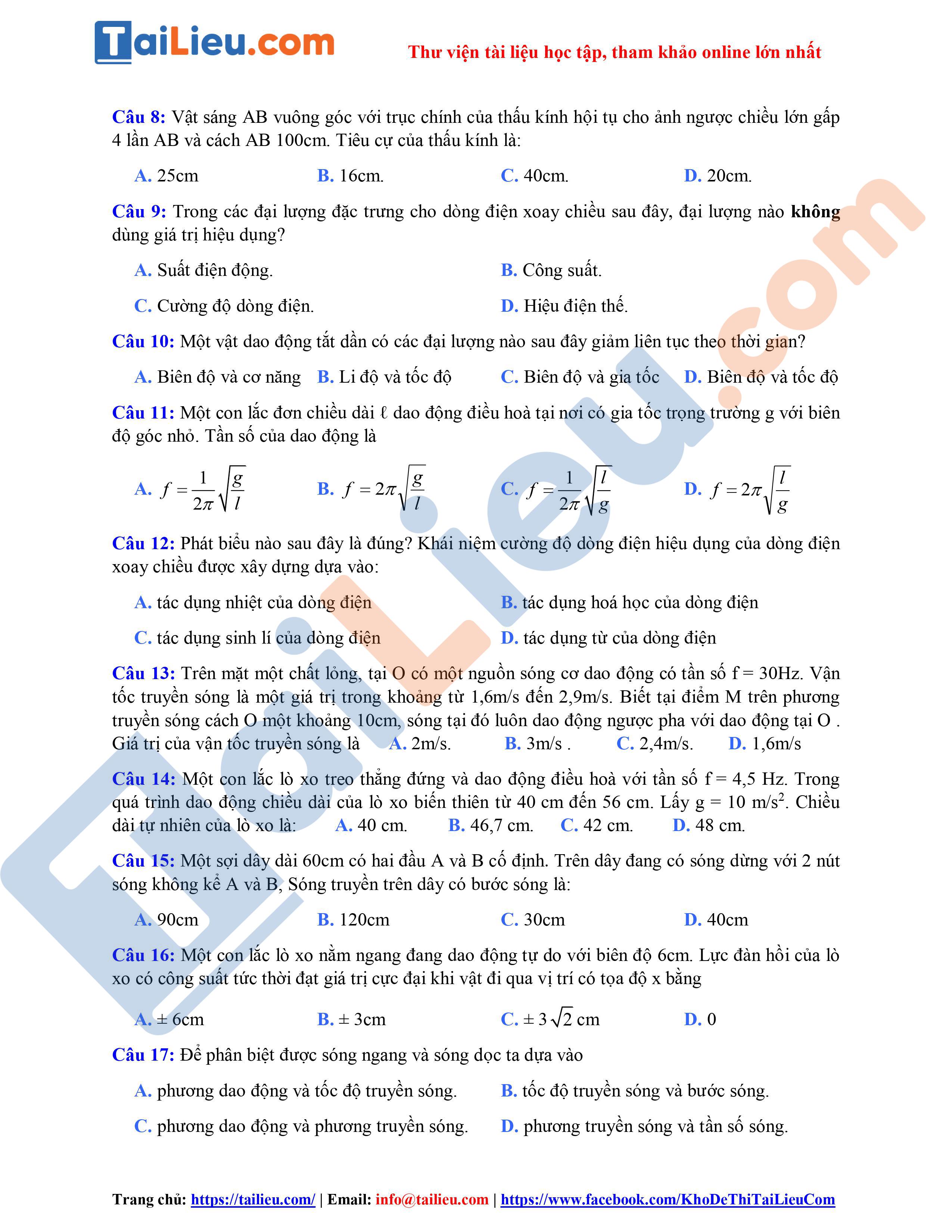 Đề thi thử THPT Quốc gia 2021 môn Vật lý THPT Lý Thái Tổ - Đà nẵng-2