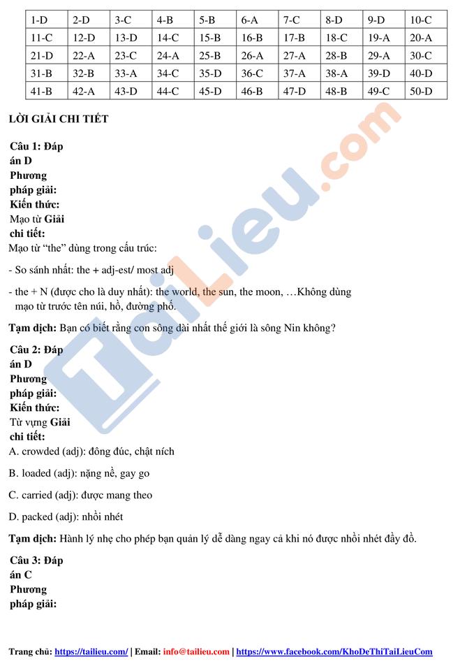 Đáp án đề thi thử tốt nghiệp THPT năm 2020 môn tiếng Anh trường Hàn Thuyên lần 1