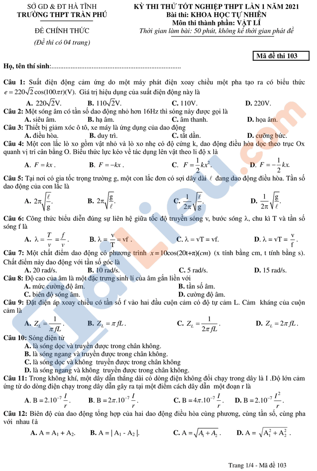 Đề thi thử thptqg môn vật lý 2021 có đáp án trường Trần Phú Hà Tĩnh mã đề 103