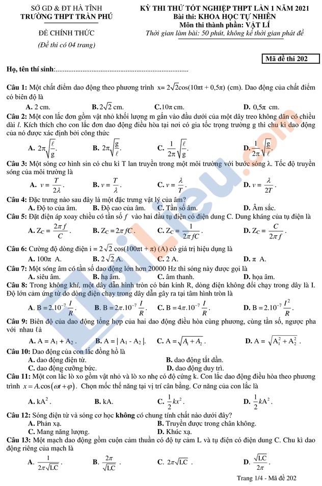 Đề thi thử thptqg môn vật lý 2021 có đáp án trường Trần Phú Hà Tĩnh mã đề 202
