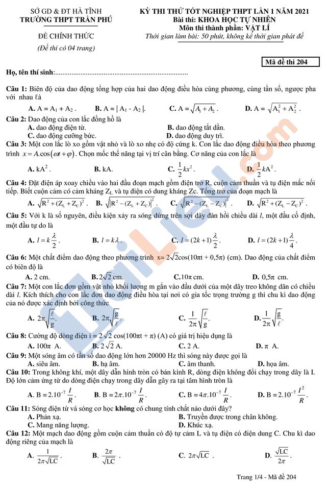 Đề thi thử thptqg môn vật lý 2021 có đáp án trường Trần Phú Hà Tĩnh mã đề 204