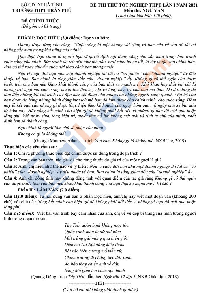 Đề thi thử tốt nghiệp THPT môn Ngữ Văn năm 2021 trường Trần Phú Hà Tĩnh