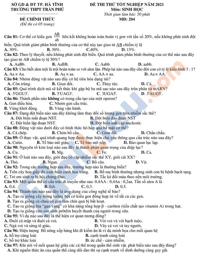 Đề thi thử môn Sinh có đáp án THPT 2021 trường Trần Phú Hà Tĩnh mã đề 204