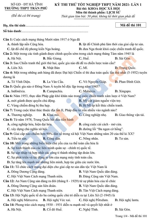 Đề thi thử TPTQG năm 2021 môn lịch sử trường Trần Phú mã đề 101