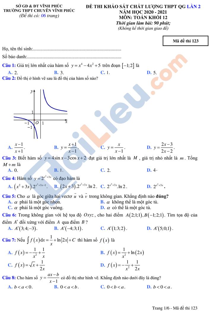 Đề thi thử tn môn toán thptqg có đáp án năm 2021 chuyên Vĩnh Phúc lần 2_1