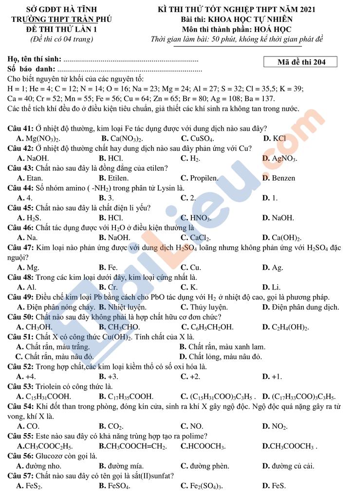 Đề thi thử thptqg môn hóa năm 2021 trường Trần Phú Hà Tĩnh lần 1 mã đề 204