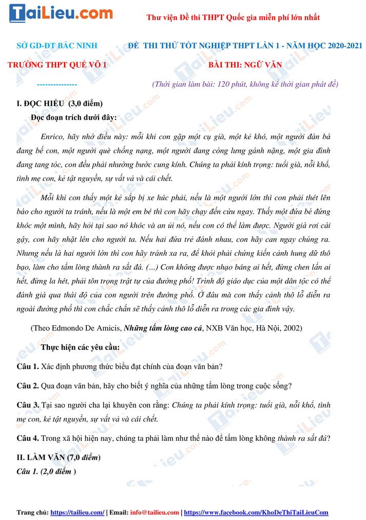 Đề thi thử THPT quốc gia 2021 môn Văn trường Quế Võ 1 Bắc Ninh lần 1_1